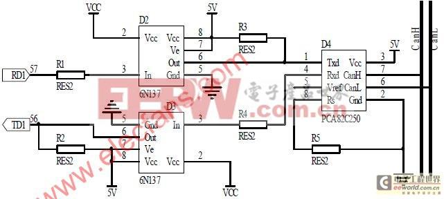 总线收发器就能满足设计要求。PCA82C250是一款飞利浦公司的CAN总线收发器,提供了 对总线的高速差动发送能力和对CAN控制器的高效率差动接收能力。为增强CAN总线节点 的抗干扰能力,LPC2368的CAN控制器输出TX和RX不能直接与PCA82C250的TX和RX相连, 而是通过高速光耦6N137后与PCA82C250相连,这样就实现了总线上各CAN节点间的电气隔 离。光耦电源的隔离可通过小功率的电源隔离模块,或通过带多5 V隔离输出的开关电源实 现。这些部分虽然增加了节点的复杂性,但却提高了节点的