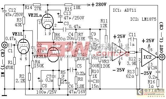 带音调控制的混合式Hi-Fi功放电路