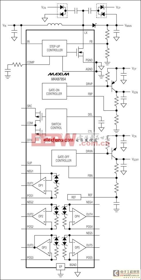 MAX8795A集成运算放大器 TFT-LCD DC-DC转换器