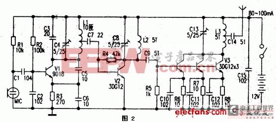 1.5km单管调频发射机电路