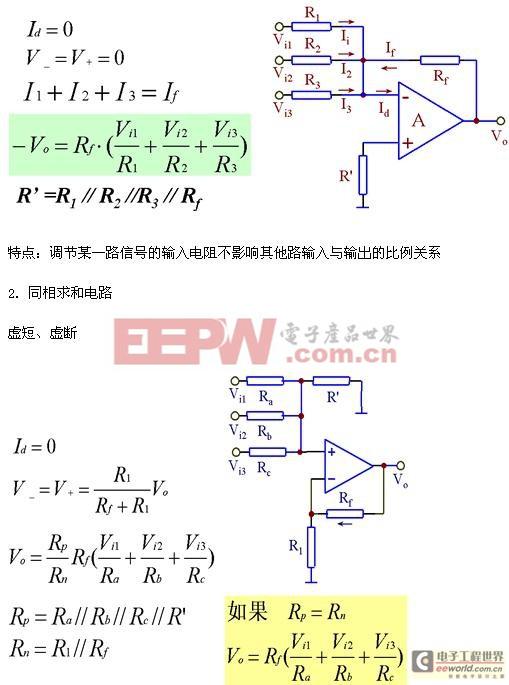 1. 反相求和电路