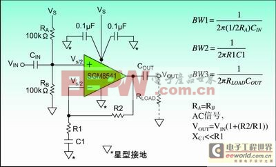 图1:单电源供电运算放大器的偏置方法。