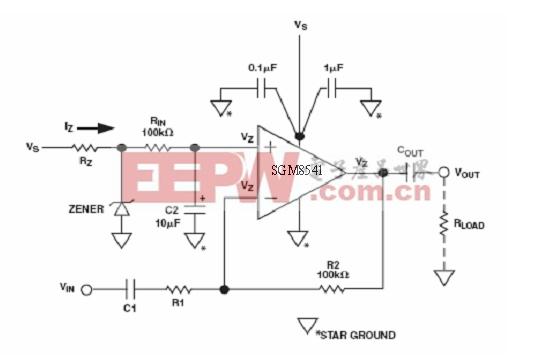 图4:利用相同的齐纳二极管的反相放大器电路的偏置方法。