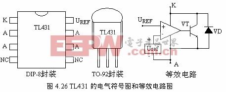 tl431的电路图形符号和基本接线如图4.27所示