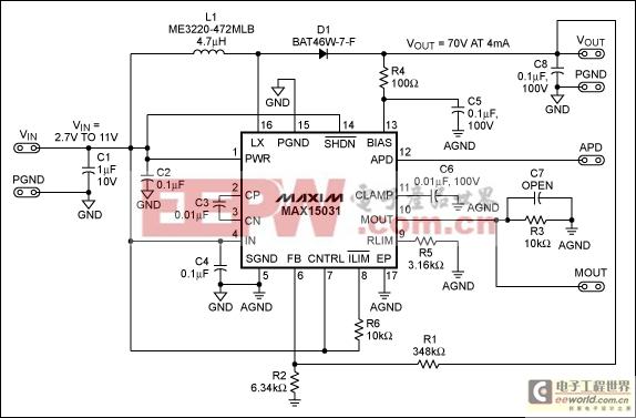 雪崩光电二极管(apd)偏置电源及其电流监测