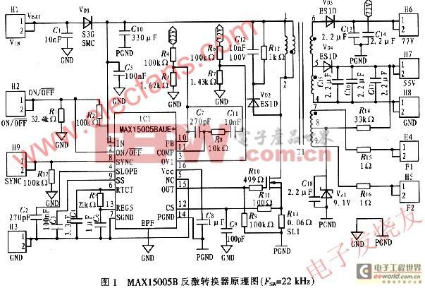 4 测试波形 在测试条件:VIN=14 V、RANODE=3.3 k、RGRID=3_3 k、RFILA-MENT=8下,对评估电路板进行测量,其测试结果如图2~图5所示。图2中Ch1为MOSFET VQ1漏极电压(VDRAIN);Ch2为R13两端的电流检测电压(VSENSE)。图3中Ch1为阳极输出电压纹波,Ch2为栅极输出电压纹波。图4 中Ch1为灯丝正极电压(VF1),Ch2为灯丝负极电压(VF2)。图5中M为灯丝有效电压(VF1-VF2)。