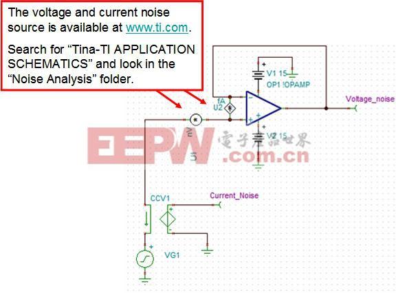 ?????????????????? 图 4.8:采用分离噪声源的运算放大器噪声模型 首先,我们应配置噪声电压源。这只需在噪声源上右击并选择 进入宏 即可(见图4.9)。进入宏后,弹出文本编辑器,为SPICE宏模型给出了源列表。图 4.10 显示了应加以编辑的 .PARAM 信息,以匹配于数据表。请注意,NLF 是l/f 区中某一点的噪声频谱密度(单位为 nV/rt-Hz)。FLW 是选中点的频率。