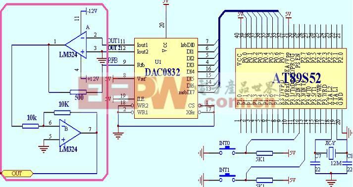 [实验任务] 用两个按键通过单片机控制DAC0832的输出,使OUT端可以输出05V的幅值,频率为1KHZ的锯齿波和三角波两种波形。通上电源后;按下INT1则输出三角波,在按下INT0输出锯齿波。 [实验原理] ADC0804是8位全MOS 中速D/A