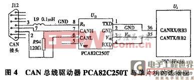 CAN总线驱动器PCA82C250T与单片机的连接图