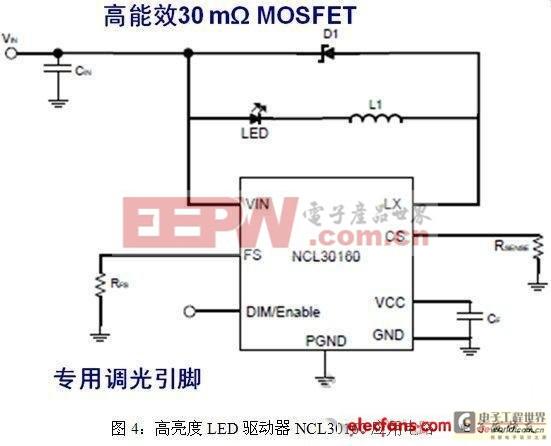 高亮度LED驱动器NCL30160应用电路