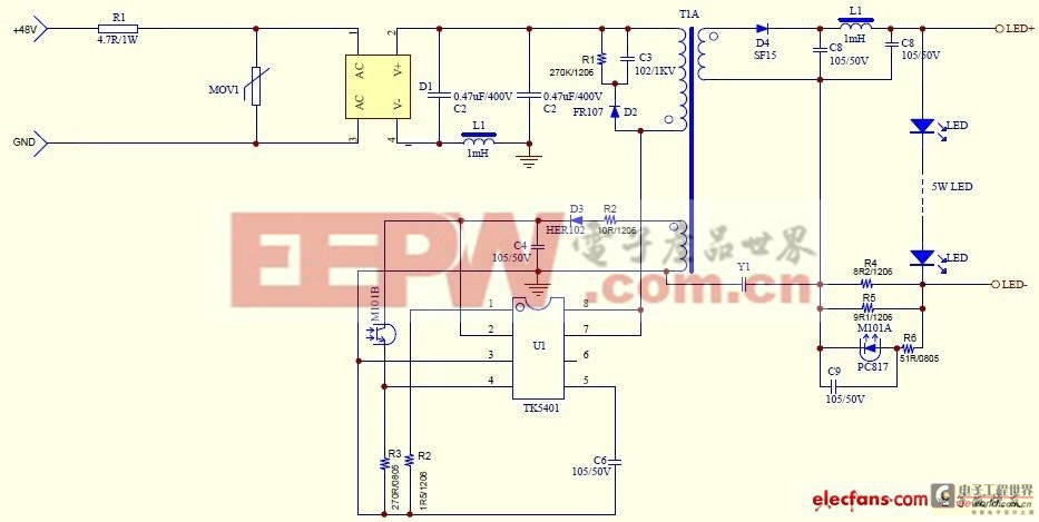 5W LED驱动电源电路图