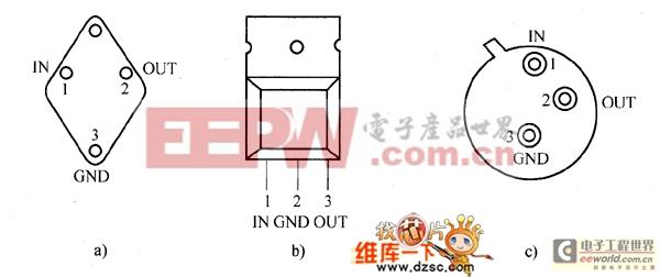 7800系列三端固定正电压稳压器的外部管脚