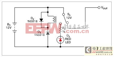 无压降的单只继电器处理电压的反极性保护电路