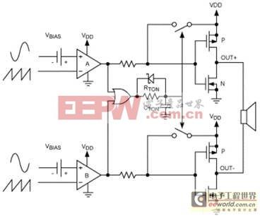 扩谱调制模式使D类放大器的EMI降至最低