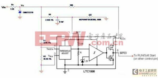 图1:具有可调温度门限、可编程滞后电压和远端温度感测特性的散热保护路。