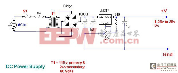 基于LM317的可变稳压器电源