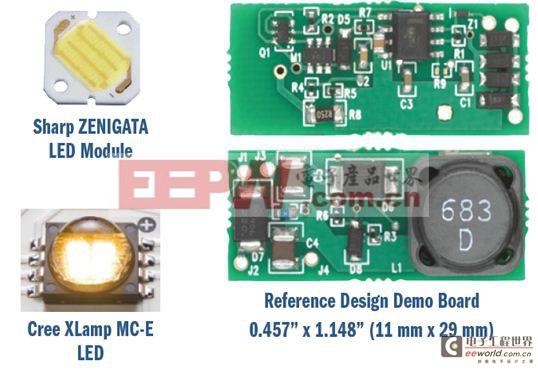 图7:降压-升压MR16灯用LED及参考设计演示板