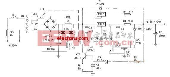 基于LM317的自适应可调稳压电源电路