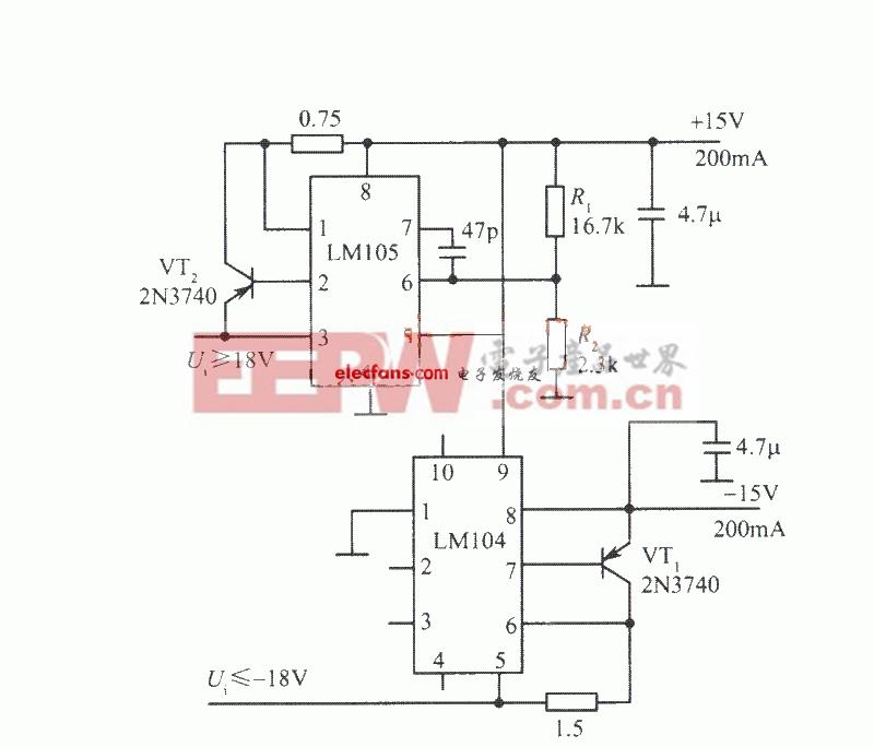 基于LM105的15V跟踪稳压电源电路