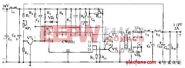 CW3524组成的稳压电源电路