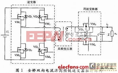 全桥双向电流源高频链逆变器的主电路拓扑结构