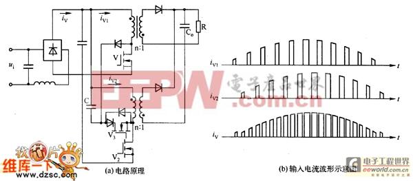 交错交联输人的有源钳位反激式PFC转换器电路图