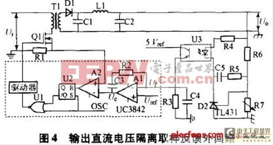电压采样及反馈电路由光耦PS2701、TL431和阻容网络组成,图中R5