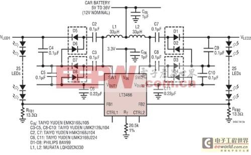 采用扁平表面贴装组件从12V输入为50个白光LED供电