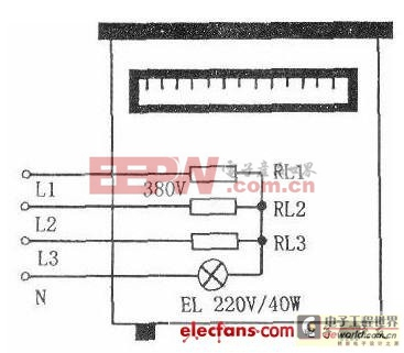 监察三相电热水器缺相用白炽灯