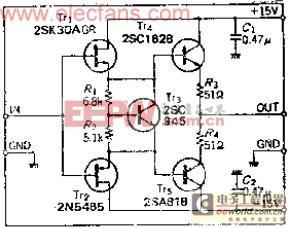 由推挽电路构成的高输入电阻宽带缓冲放大器电路原理