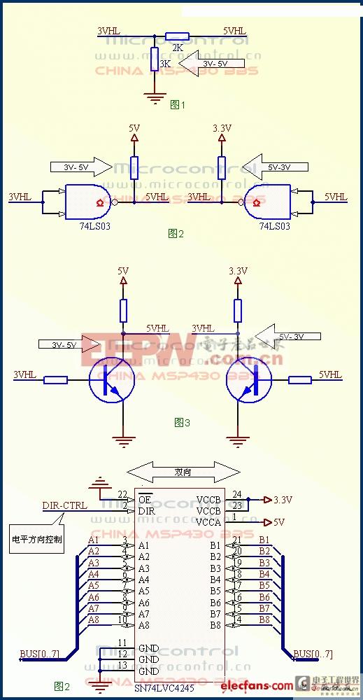MSP430常用的3V-5V转换电路