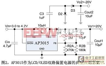图2AP3015作为LCD/OLED双路偏置电源的典型应用方案一
