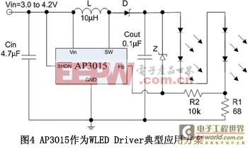 图4AP3015作为WLEDDriver典型应用方案