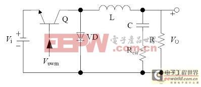 非隔离负电压Buck开关电源等效功率级电路原理图