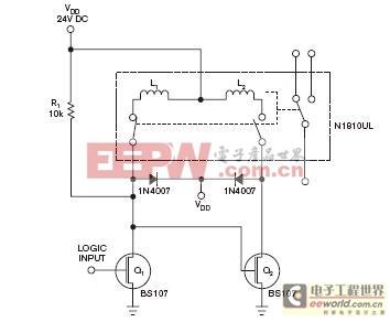用两只MOSFET分别驱动一个双线圈闭锁继电器
