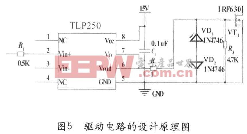 具体选用日本东芝公司的tlp250集成电路作为irf630型mosfet的驱动光耦图片