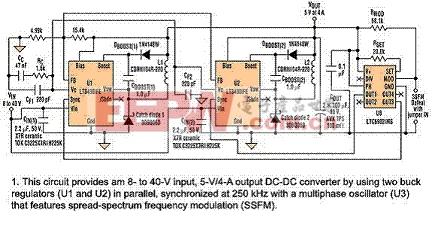如何利用两个并联的转换器倍增最大负载电流