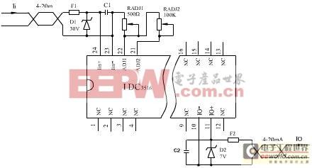 图2 IDC3516芯片接线原理图   由于在信号传输中,芯片内部需要消耗一部分能量,因此该芯片的输出信号功率总是要小于输入功率,其具体体现在输入端电压降上。图3是该芯片输入特性曲线,其输出侧所带负载为250,可见在这种情况下,信号源需要有足够的驱动能力(>14V)。