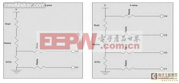 在右面的电路中,-ve直接连接到靠近分压电阻的参考电压.