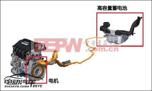 实现了并联式的混合动力系统,后部的电池通过单股高压线和电机相连