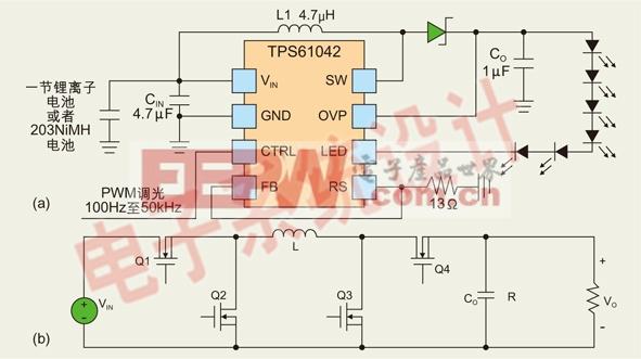 模式衹b*�.#��.�fj9ki�.h_图3:(a) 典型的白光led驱动器的调光模式;(b) h桥接降压/升压转换器