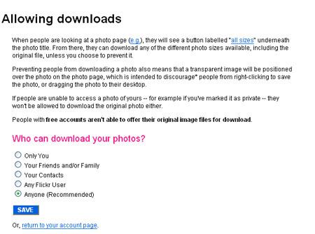 Flickr中用于允许/禁止下载的页面