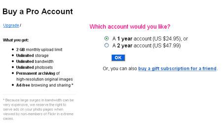 在Flickr上购买专业帐户