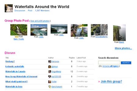 "Flickr团体""Waterfalls Around the World"""
