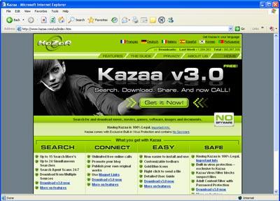 众所周知,Kazaa的下载程序包带有间谍软件,尽管它的官方声明并非如此。