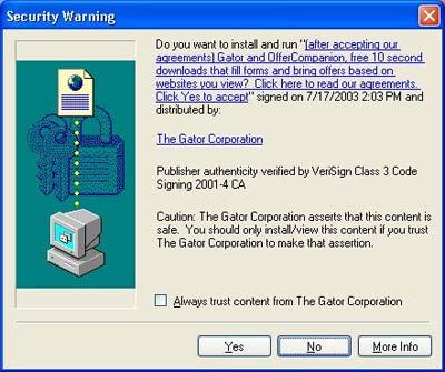Internet Explorer安全警告