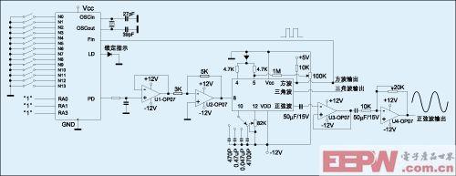 图3:基于锁相环的低频正弦波发生器。