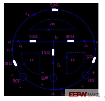 设各网孔电流的大小和参考方向如图中所示