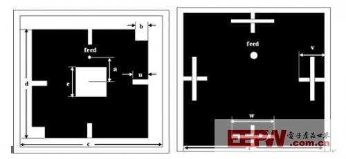 切角代替了三角形切角,且每边添加了长度均为u和宽度均为2mm的矩形槽