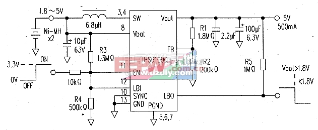 用1.8V供电可输出5V的升压电路(TPS60109升压电源)TPS60109 step-up power supply